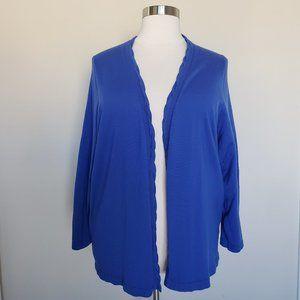 Lands End Plus 4X Blue Open Front Cardigan Sweater